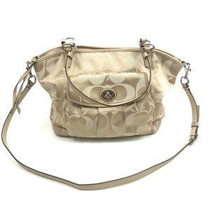 Coach Signature C Gold Cream Shoulder Handbag